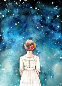 Starry Night Sky and Girl